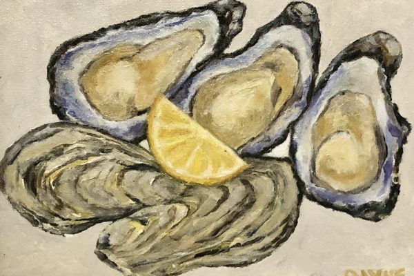 OYSTERS AND LEMONS by MICHAEL PAYNE,Oil 8x10 $120